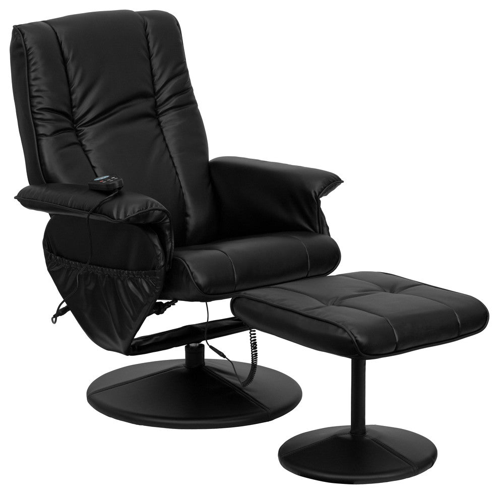 Flash Furniture   Massaging Multi-Position Recliner and Ottoman with Wrapped Base in Black LeatherSoft - Pot Racks Plus