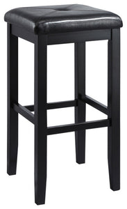 "Upholstered Square Barstool, Black Finish With 29"" Height., Set of 2 - Pot Racks Plus"