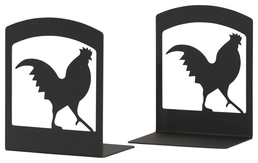 "Wrought Iron Book Ends, 5"" x6 1/4"" x3 1/2"", Rooster"