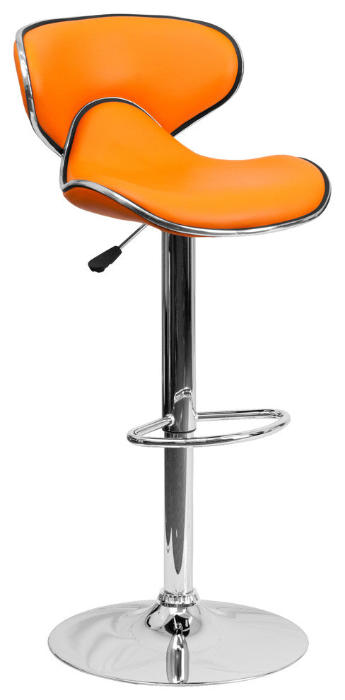 Contemporary Cozy Mid-Back Orange Vinyl Adjustable Height Barstool with Chrome Base