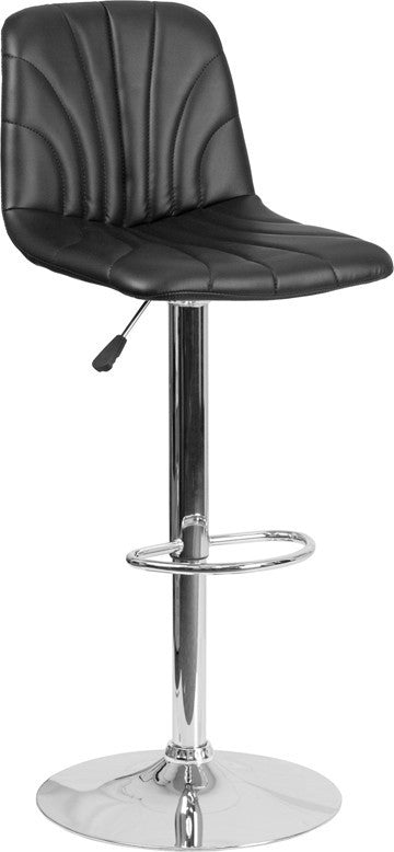 Contemporary Black Vinyl Adjustable Height Barstool with Embellished Stitch Design and Chrome Base