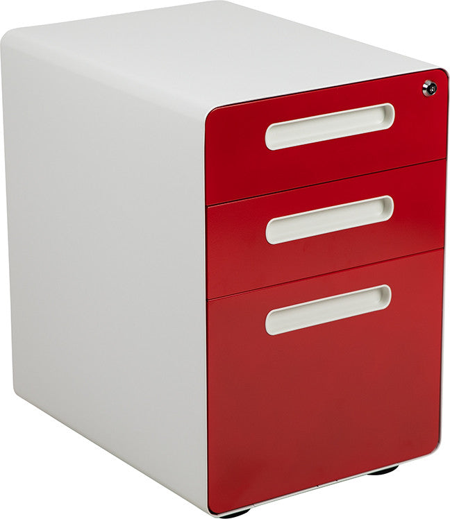 Ergonomic 3-Drawer Mobile Locking Filing Cabinet with Anti-Tilt Mechanism & Letter/Legal Drawer, White with Red Faceplate