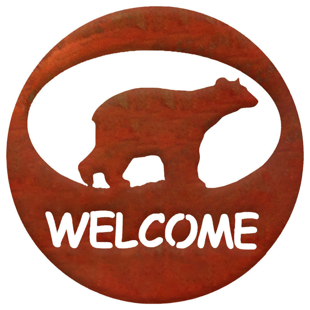 Bear Welcome Circle-Rust Patina - Pot Racks Plus