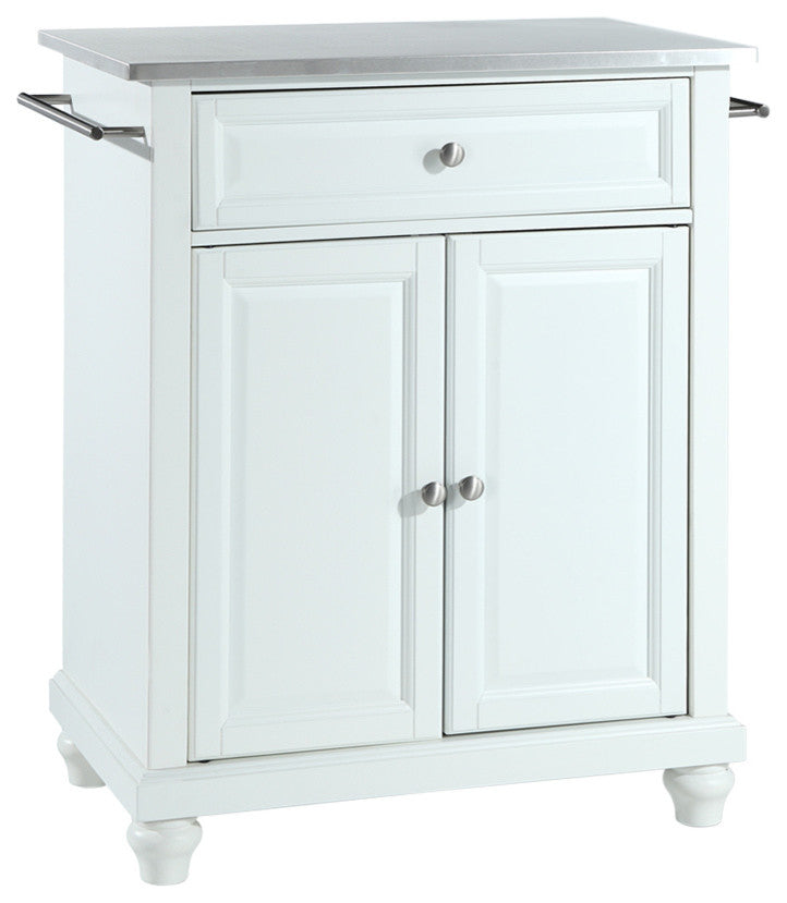 Cambridge Stainless Steel Top Portable Kitchen Island, White Finish - Pot Racks Plus