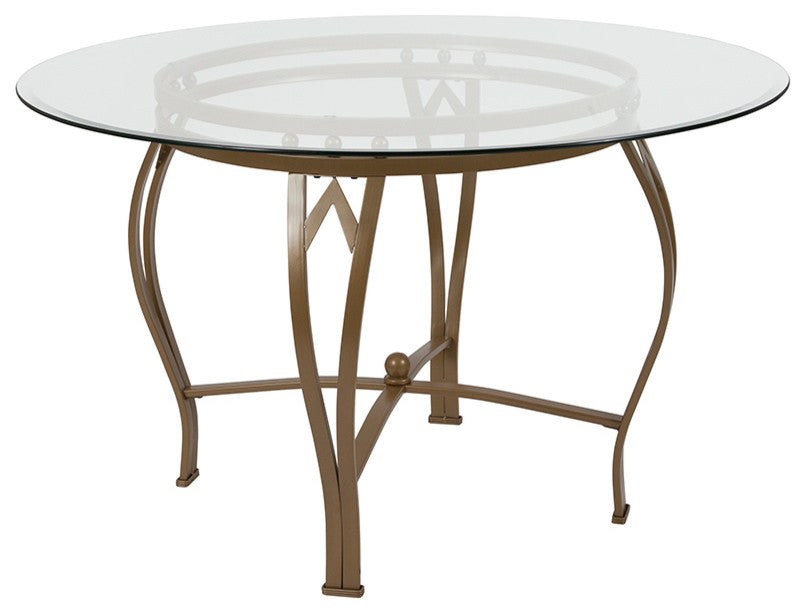 Flash Furniture Syracuse 48'' Round Glass Dining Table with Matte Gold Metal Frame - Pot Racks Plus