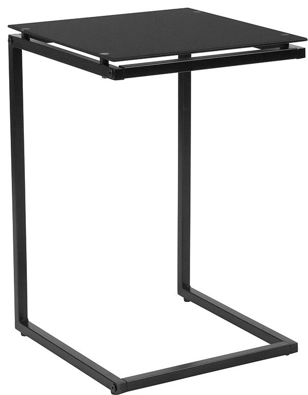 Burbank Black Glass End Table with Black Metal Frame