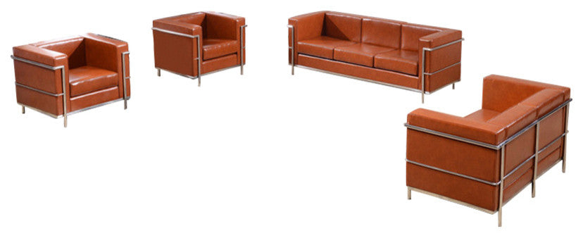 HERCULES Regal Series Reception Set in Cognac LeatherSoft