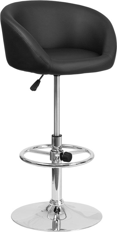 Flash Furniture Contemporary Black Vinyl Adjustable Height Barstool with Barrel Back and Chrome Base - Pot Racks Plus