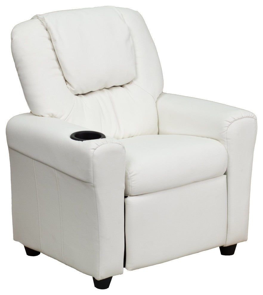 Flash Furniture   Contemporary White Vinyl Kids Recliner with Cup Holder and Headrest - Pot Racks Plus