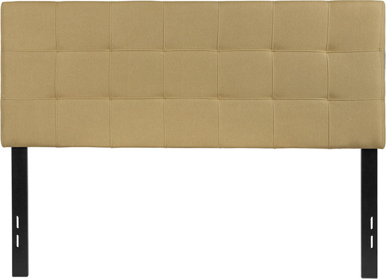Bedford Tufted Upholstered Full Size Headboard in Light Gray Fabric