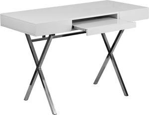 44.25''W x 21.625''D White Computer Desk with Keyboard Tray and Drawers