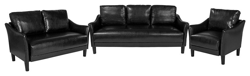 Asti 3 Piece Upholstered Set in Black LeatherSoft