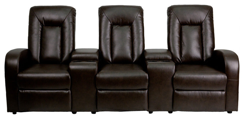 Flash Furniture   Eclipse Series 3-Seat Reclining Brown LeatherSoft Theater Seating Unit with Cup Holders - Pot Racks Plus