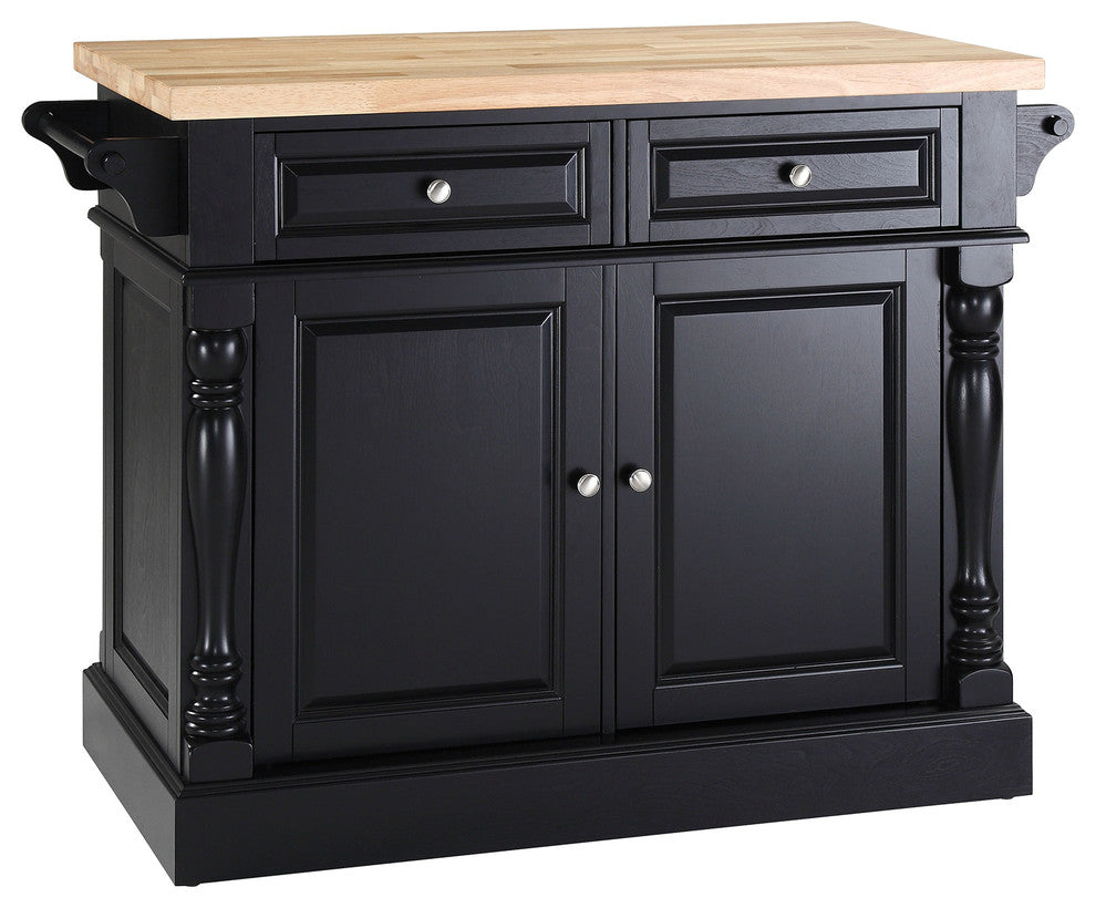 Butcher Block Top Kitchen Island, Black Finish - Pot Racks Plus