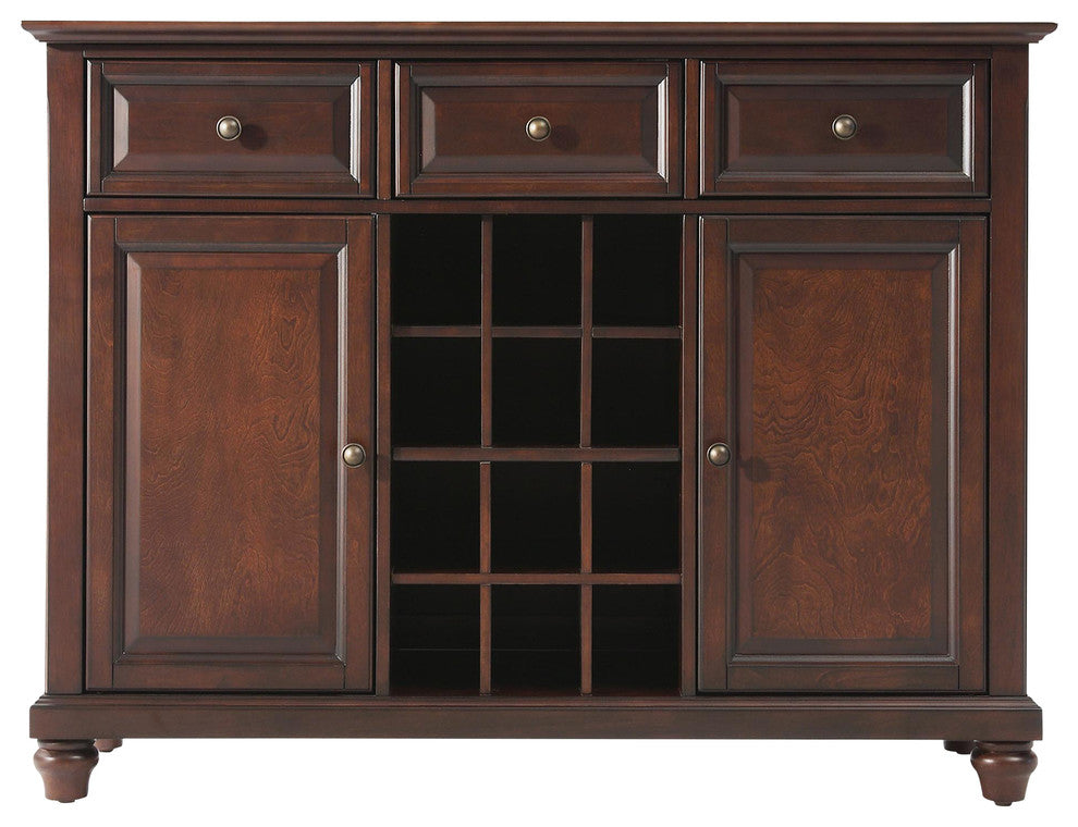 Cambridge Buffet Server-Sideboard Cabinet With Wine Storage, Vintage Mahogany - Pot Racks Plus
