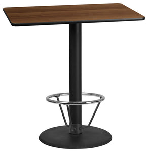 30'' x 45'' Rectangular Walnut Laminate Table Top with 24'' Round Bar Height Table Base and Foot Ring
