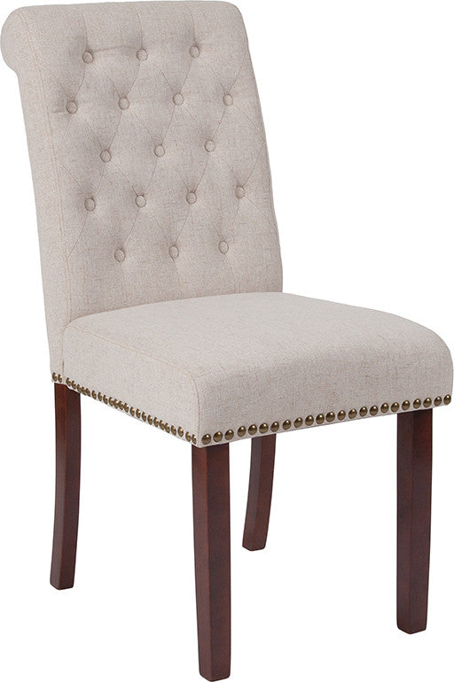 Flash Furniture HERCULES Series Beige Fabric Parsons Chair with Rolled Back, Accent Nail Trim and Walnut Finish - Pot Racks Plus