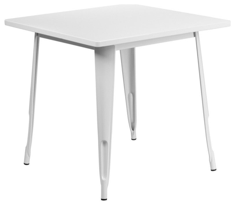 "Commercial Grade 31.5"" Square White Metal Indoor-Outdoor Table"