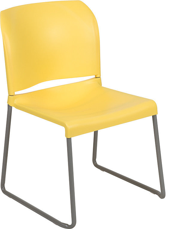 HERCULES Series 880 lb. Capacity Yellow Full Back Contoured Stack Chair with Gray Powder Coated Sled Base
