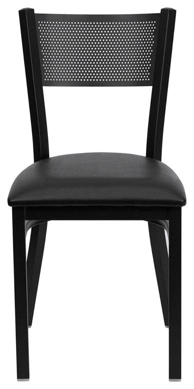 HERCULES Series Black Grid Back Metal Restaurant Chair - Black Vinyl Seat