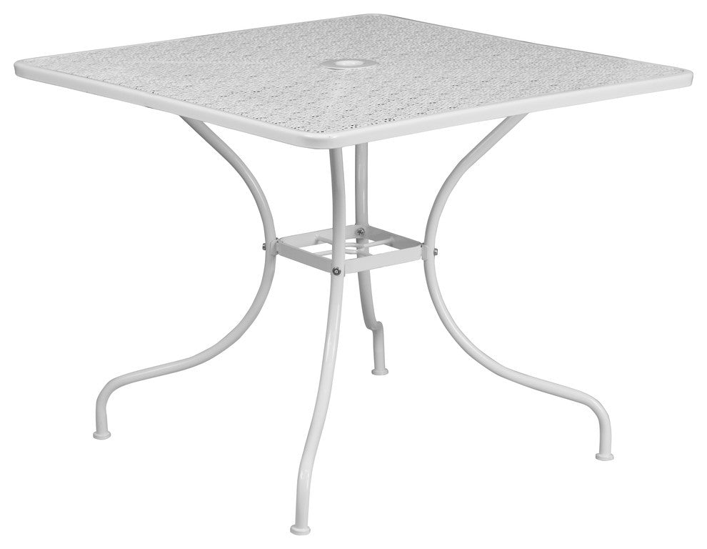 "Commercial Grade 35.5"" Square White Indoor-Outdoor Steel Patio Table"