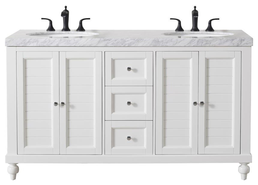 Kent 60 Inch White Double Sink Bathroom Vanity - Pot Racks Plus