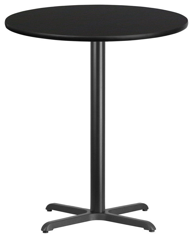 36'' Round Black Laminate Table Top with 30'' x 30'' Bar Height Table Base