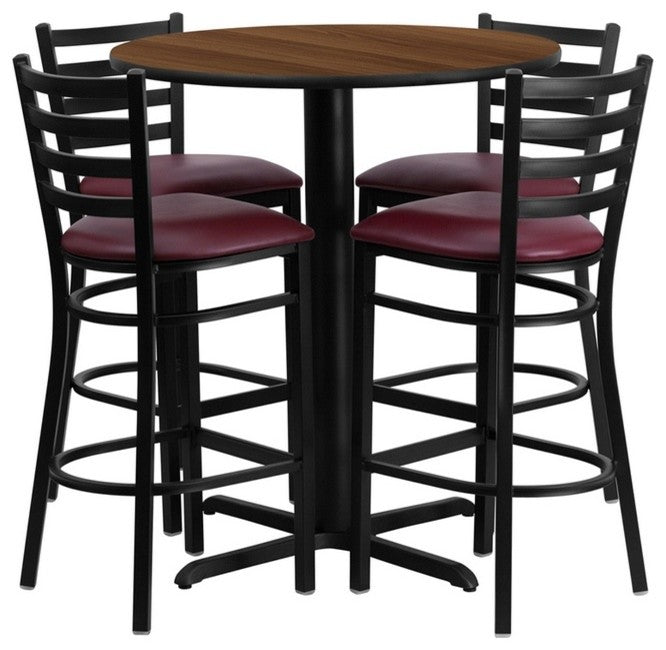 30'' Round Walnut Laminate Table Set with X-Base and 4 Ladder Back Metal Barstools - Burgundy Vinyl Seat