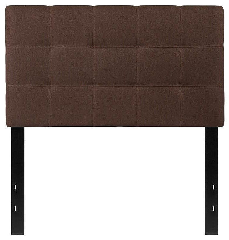 Bedford Tufted Upholstered Twin Size Headboard in Dark Brown Fabric