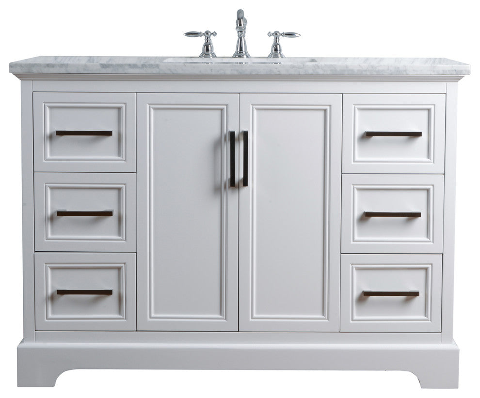 "Ariane 48"" White Single Vanity Cabinet Single Bathroom Sink - Pot Racks Plus"