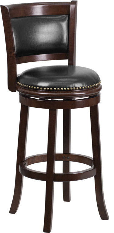 29'' High Cappuccino Wood Barstool with Panel Back and Black LeatherSoft Swivel Seat