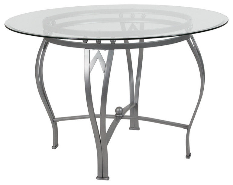 Flash Furniture Syracuse 45'' Round Glass Dining Table with Silver Metal Frame - Pot Racks Plus