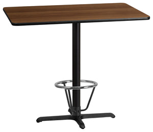 30'' x 48'' Rectangular Walnut Laminate Table Top with 23.5'' x 29.5'' Bar Height Table Base and Foot Ring