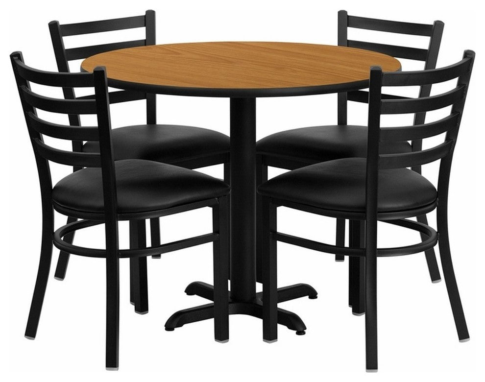 36'' Round Natural Laminate Table Set with X-Base and 4 Ladder Back Metal Chairs - Black Vinyl Seat