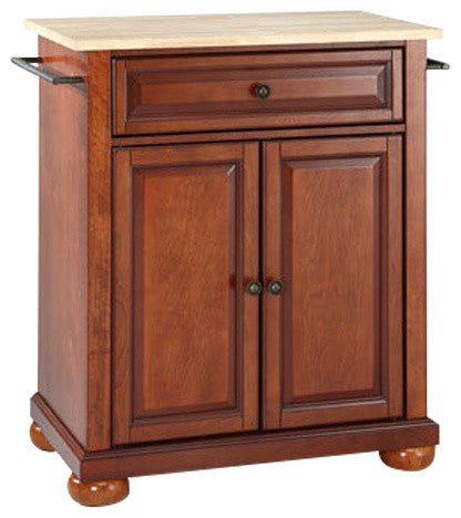 Alexandria Natural Wood Top Kitchen Island, Classic Cherry Finish - Pot Racks Plus