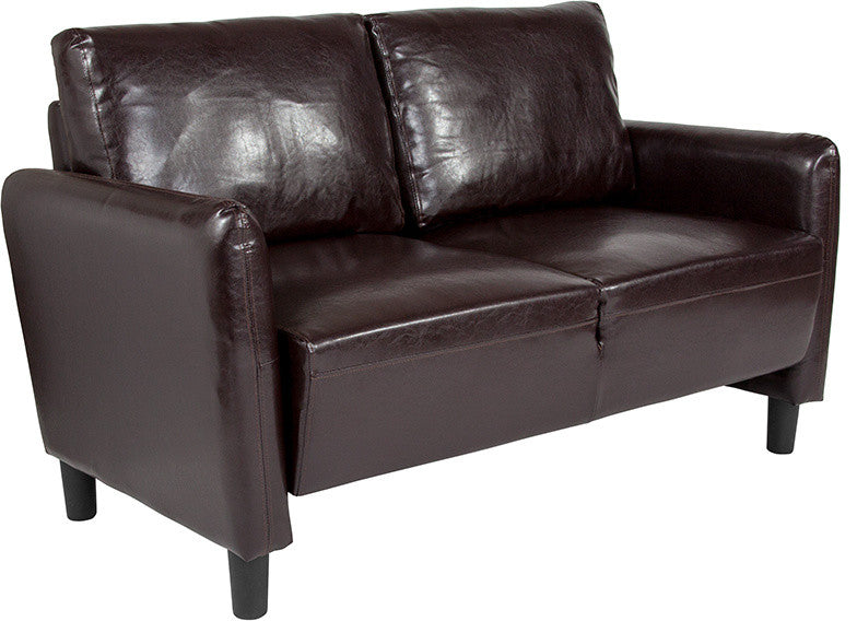Candler Park Upholstered Loveseat in Brown LeatherSoft