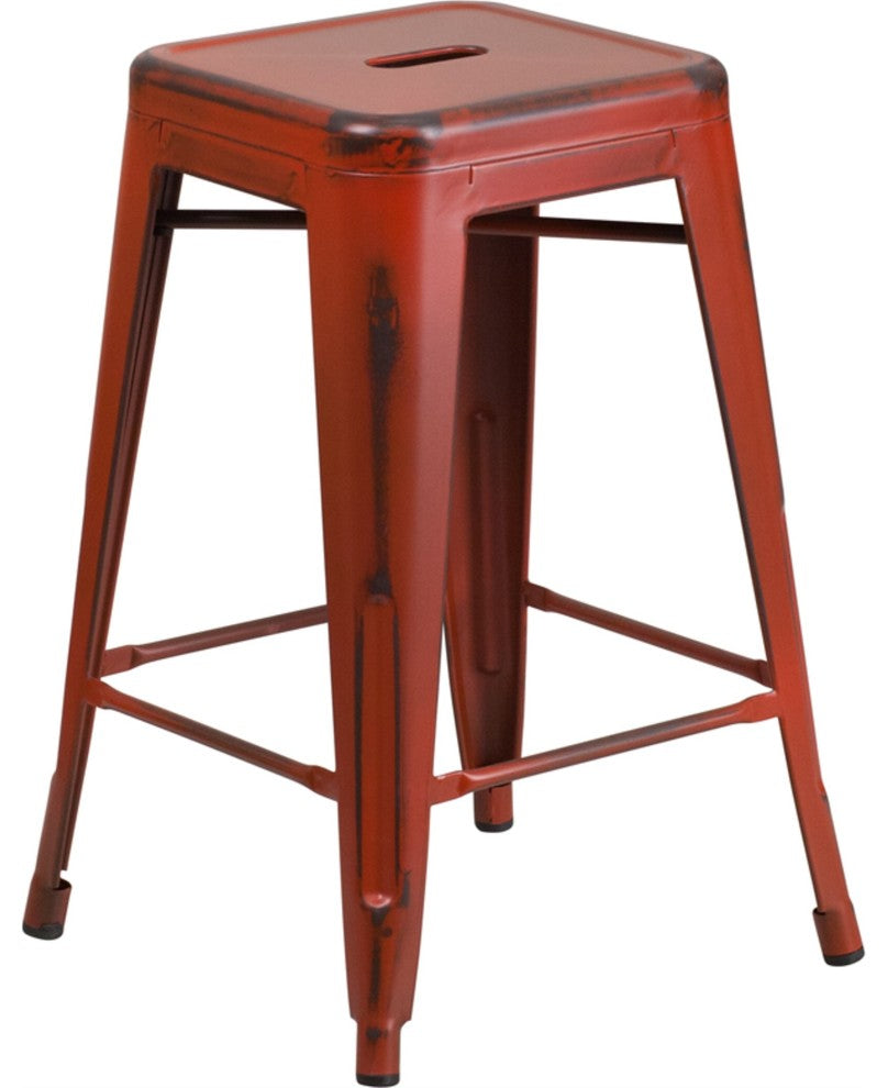 "Commercial Grade 24"" High Backless Distressed Kelly Red Metal Indoor-Outdoor Counter Height Stool"