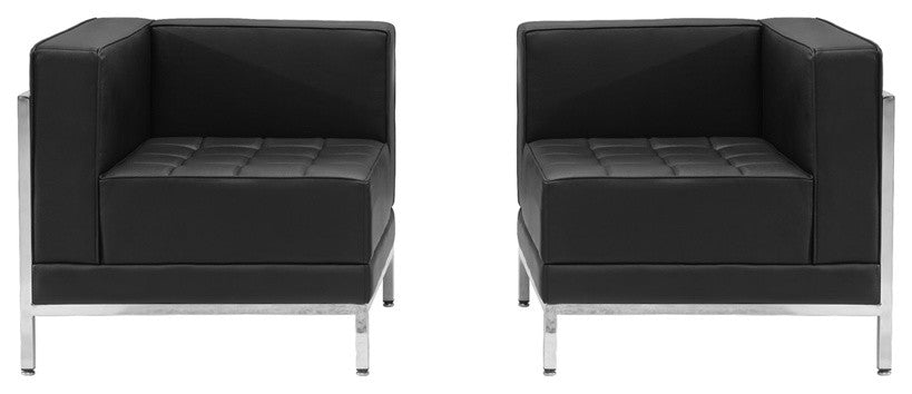 HERCULES Imagination Series Black LeatherSoft 2 Piece Corner Chair Set