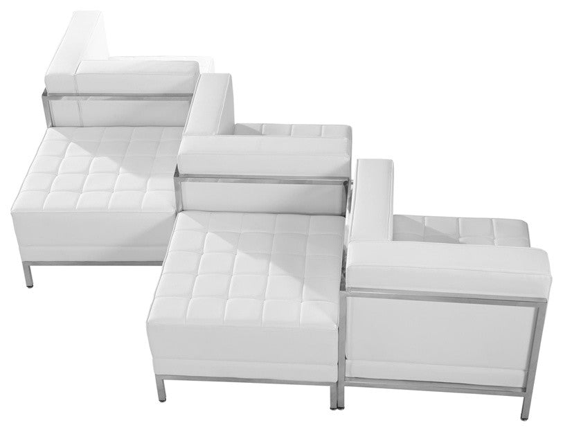 HERCULES Imagination Series Melrose White LeatherSoft 5 Piece Chair & Ottoman Set