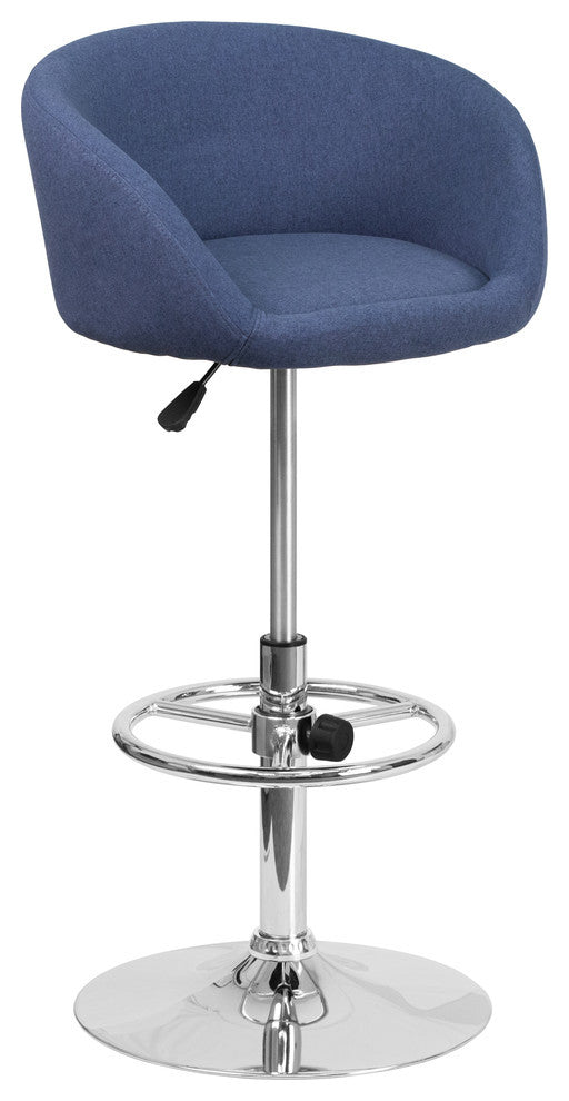 Flash Furniture Contemporary Blue Fabric Adjustable Height Barstool with Barrel Back and Chrome Base - Pot Racks Plus