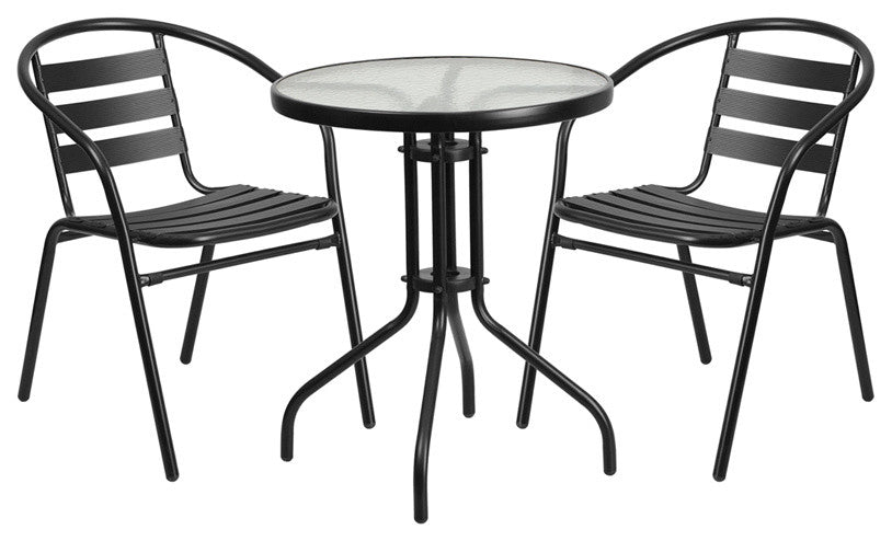 23.75'' Round Glass Metal Table with 2 Black Metal Aluminum Slat Stack Chairs