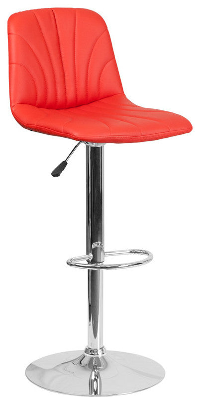 Contemporary Red Vinyl Adjustable Height Barstool with Embellished Stitch Design and Chrome Base