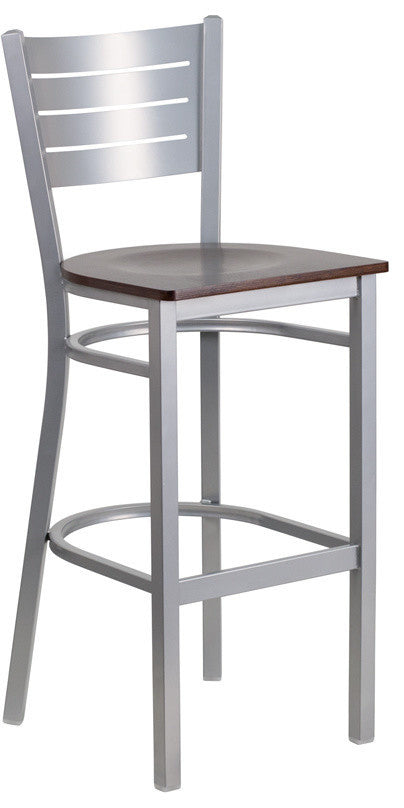 HERCULES Series Silver Slat Back Metal Restaurant Barstool - Walnut Wood Seat