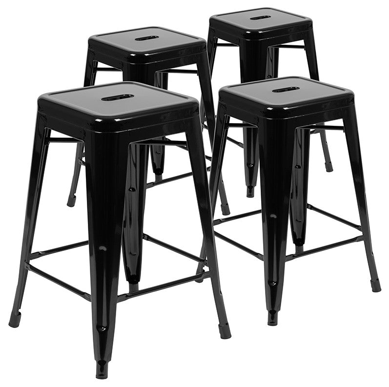 "Flash Furniture  24"" High Metal Counter-Height, Indoor Bar Stool in Black - Stackable Set of 4 - Pot Racks Plus"