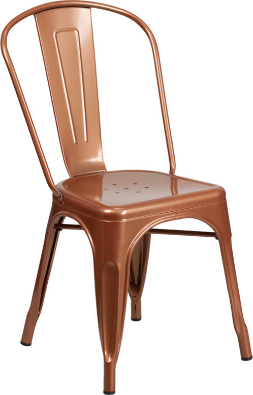 Commercial Grade Copper Metal Indoor-Outdoor Stackable Chair