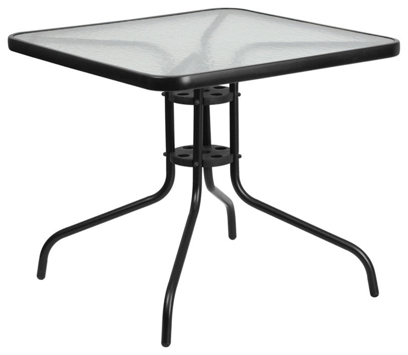 31.5'' Square Tempered Glass Metal Table