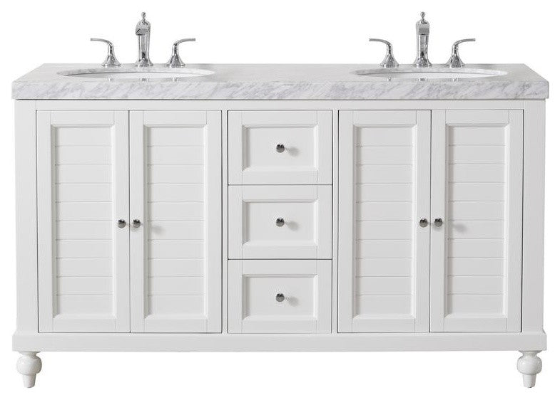Kent 60 Inch White Double Sink Bathroom Vanity W/Drains & Faucets, Matte Black - Pot Racks Plus