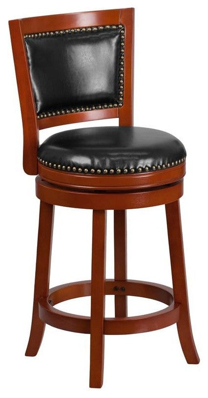 26'' High Light Cherry Wood Counter Height Stool with Open Panel Back and Black LeatherSoft Swivel Seat