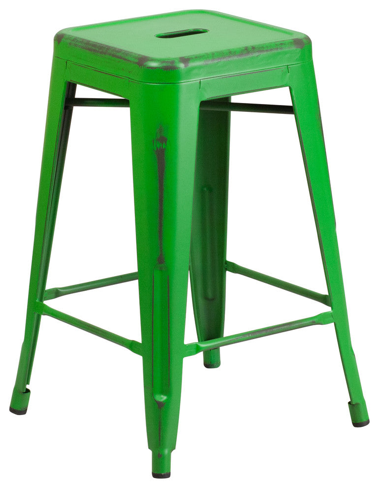 "Commercial Grade 24"" High Backless Distressed Green Metal Indoor-Outdoor Counter Height Stool"