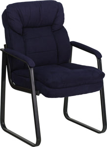 Navy Microfiber Executive Side Reception Chair with Lumbar Support and Sled Base